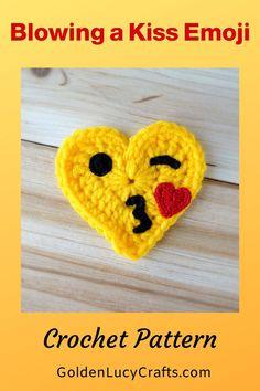 Crochet heart-shaped emoji, blowing a kiss emoji. Free crochet pattern, applique, DIY, crochet crafts, Valentine's Day crochet Crochet Thread Size 10, Crochet Hook Sizes, Crochet Motif, Crochet Designs, Single Crochet, Crochet Patterns, Crochet Appliques, Crochet Home, Diy Crochet