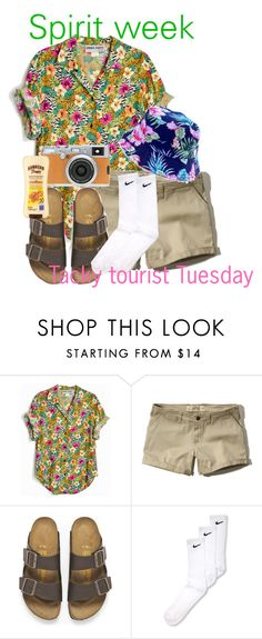 """""""Spirit week tacky tourist Tuesday"""" by taytay0514 ❤ liked on Polyvore featuring Hollister Co., Birkenstock, NIKE and Fujifilm"""