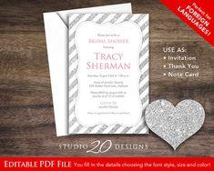 Instant Download 4x6 Silver Glitter Bridal Shower Invitation, Self Editable PDF, DIY Silver Birthday Invites, Glitter Engagement Party Initations, Spanish Invitation, French Invitation by Studio20Designs, $3.75