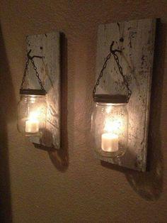 Mason jar tealight sconces
