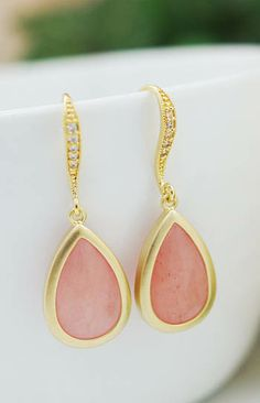 Blush Wedding Bridesmaid Earrings from EarringsNation Baby Pink Jade Blush + Gold Weddings Blush and gold weddings