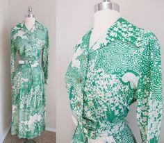 70s Nancy Greer Green Gold & White Dress Pleated Skirt Lg Collar Belted Maxi L #NancyGreer