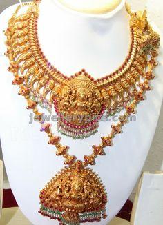 beautiful Pulinakha mala with lakshmi pendent temple jewellery - Latest Jewellery Designs