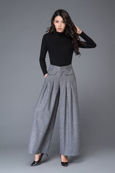 light grey pant- wool pant- winter pant- wide leg pant- womens pants- long pants- made to order C1001