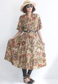Vintage Tropical Floral & Leaf Dress (Belt Not Included)