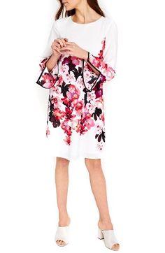 Wallis Pink Posie Flare Sleeve Tunic Dress by womens-dresses