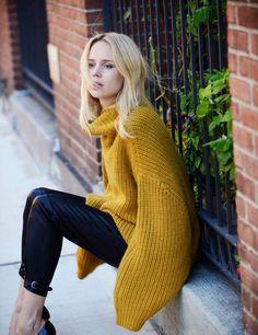 chunky mustard sweater.