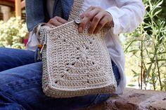 Small crossbody bag, Crochet handbag, Small shoulder bag, Granny square bag, Boho purse, White crochet bag, Two sided crochet design, Lined. by Hishuk on Etsy