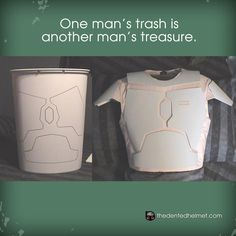 Turn a plastic trash can into armor. - If I ever get ambitious and want to make Mass Effect Armor it would be a starting point.