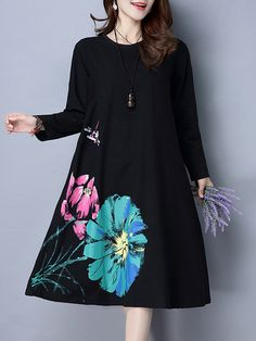 Loose Lotus Flower Printed Long Sleeve O Neck Dresses For Women Online - NewChic