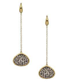 Athra Luxe Black Crystal Long Drop Earrings #maxandchloe
