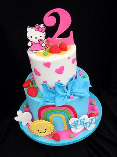 Hello Kitty Cake- this got squeals, kicks, victory arms and a million giggles. I think its a winner. Torta Hello Kitty, Hello Kitty Birthday Cake, Birthday Cake Girls, Birthday Cakes, Birthday Ideas, 2nd Birthday, Happy Birthday, Pretty Cakes, Cute Cakes