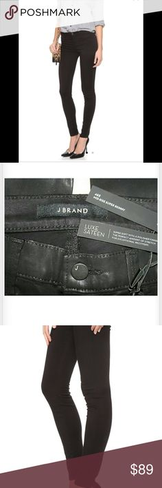 J Brand Luxe Sateen Super Skinny Jeans NWT J Brand Luxe Sateen Jeans.  Awesome for the holiday season!  New. J Brand Jeans Skinny