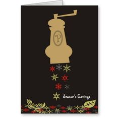 Pepper mill snowflakes Christmas holiday card