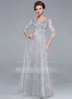 A-Line/Princess Scoop Neck Floor-Length Tulle Charmeuse Lace Mother of the Bride Dress With Ruffle Beading Sequins (008025713) - JJsHouse