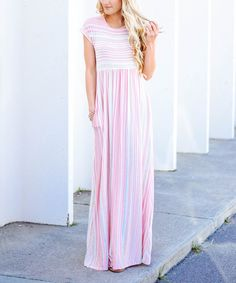 Take a look at this Peach & Pink Stripe Maxi Dress today!