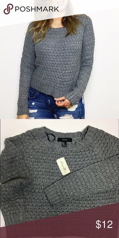 Grey Waffle Knit Sweater NWT cozy long sleeved sweater. Please note it is a somewhat cropped cut. Forever 21 Sweaters Crew & Scoop Necks
