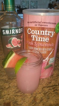 Pink watermelon lemonade slush... All you need is a blender, ice, 2 scoops Country Time Lemonade, watermelon vodka, and water. Blend garnish with a slice of watermelon and a lime or lemon. Perfect for a hot summer day...