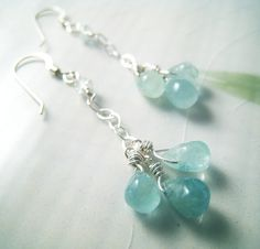Kaimalolo - Organic aquamarine drops and sterling silver earrings
