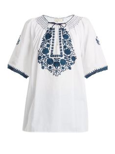 Muzungu Sisters Eva Embroidered Cotton Top In White Navy Embroidered Jacket, Cotton Dresses, Boho Fashion, Tunic Tops, Clothes For Women, Sisters, Floral Embroidery, White Cotton, Smocking