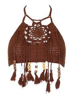 Shop Coffee Halter Crochet Bead Tasseled Crop Top from choies.com .Free shipping Worldwide.$17.99