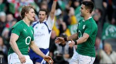 Conor Murray is about to congratulate Andrew Trimble after the Ireland wing's first-half try