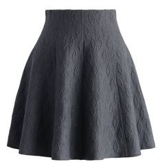 Chicwish Grey Embossed Knitted Skater Skirt (155 AED) ❤ liked on Polyvore featuring skirts, bottoms, grey, circle skirt, gray skirt, grey skater skirt, gray skater skirt and flared skirt
