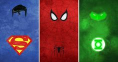 Calvin Lin minimalist Superhero Drawings - Superman, Spiderman, Green Lantern