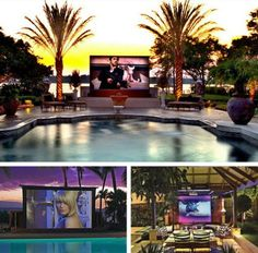 La piscina: La televisión está encima de la piscina.
