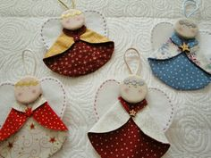 Christmas angels - Wish I could find instructions for these in English! Christmas Crochet Patterns, Crochet Ornaments, Felt Christmas Ornaments, Christmas Sewing, Christmas Angels, Christmas Holidays, Christmas Decorations, Christmas Patchwork, Christmas Poinsettia
