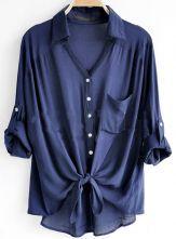 everyday shirt. love.     Navy Revere Collar Three Quarter Length Sleeve Pocket Shirt $31.2