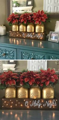 Mason jar tabletop O'Holy Night  Christmas decor!! #christmas #christmasdecor #affiliate