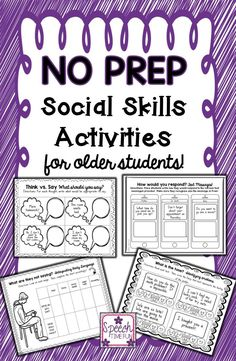 Speech Time Fun: Work on social skills with upper elementary students and older with this fun and engaging NO PREP activity pack!!  9 skills targeted!!!!! Repinned by SOS Inc. Resources pinterest.com/sostherapy/.