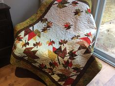 Fall leaves lap quilt,quilted autumn leaves wall hanging, cottage chic falling leaves quilt,red gold table topper, quilted table cloth