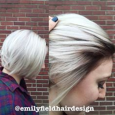 Icy blonde platinum short hair. Pretty hair with dark roots. Rooty hair with white blonde icy blonde color. Pixie short haircut with brown roots and platinum blonde hair. IG: @emilyfieldhairdesign