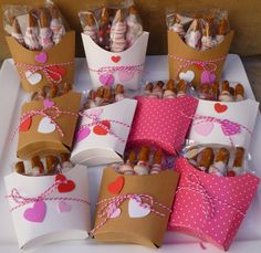 Indulge With Me: Valentine Pretzel French Fries Valentines Day Cookies, Valentine Box, Valentine Crafts, Happy Valentines Day, Valentine Ideas, Fry Box, Valentine's Day Gift Baskets, Boxes And Bows, Pumpkin Crafts
