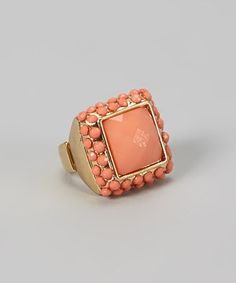 Loving this Peach Bead Square Stretch Ring on #zulily! #zulilyfinds
