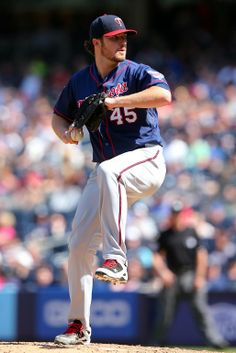 Jun 1, 2014; Bronx, NY, USA; Minnesota Twins starting pitcher Phil Hughes (45) pitches against the New York Yankees during the eighth inning of a game at Yankee Stadium. The Twins defeated the Yankees 7-2. Mandatory Credit: Brad Penner-USA TODAY Sports