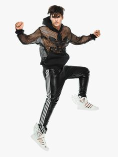 Jeremy Scott for Adidas | Netted Leather Logo Hoodie Black | Hervia.com
