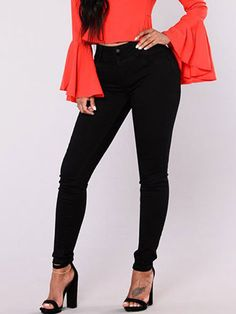 Skinny High Waisted Button Denim Pants For Women - Power Day Sale Cute Fall Outfits, Chic Outfits, Fashion Outfits, Summer Outfits, Jean Skinny Noir, Fall Collection, Denim Noir, Mode Jeans, Denim Pants