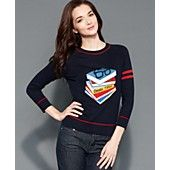 Tommy+Hilfiger+Sweater,+Long-Sleeve+Intarsia-Knit