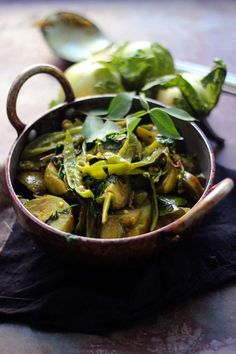 Eggplant with Fresh Green Chilies & Fenugreek Leaves.