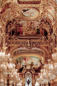 I have afew pics of the Opera House in Paris, and will probably get more. The opulence of it is so darned beautiful! Between the chandliers, the gold, the ornate carvings. Chandeliers at the Opera Garnier, Paris Baroque Architecture, Beautiful Architecture, Beautiful Buildings, Beautiful Places, Architecture Interiors, Ancient Architecture, Modern Architecture, French Walls, Paris Ville