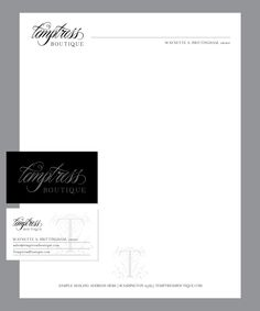 Brand Identity letterhead and business card for Temptress Boutique