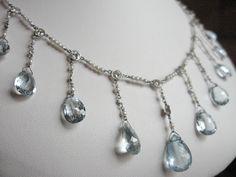 Edwardian Era Aquamarine, Diamond & Platinum Necklace. $9,600.00, via Etsy.