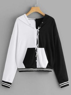 Shop Lace Up Contrast Panel Hooded Sweatshirt online. SHEIN offers Lace Up Contrast Panel Hooded Sweatshirt & more to fit your fashionable needs. Girls Fashion Clothes, Teen Fashion Outfits, Edgy Outfits, Grunge Outfits, Cute Casual Outfits, Anime Inspired Outfits, Hooded Sweatshirts, Hoodies, Kawaii Clothes