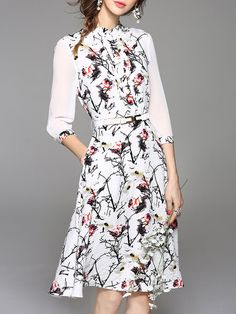 Shop Midi Dresses - Vintage Stand Collar 3/4 Sleeve Midi Dress online. Discover unique designers fashion at StyleWe.com.