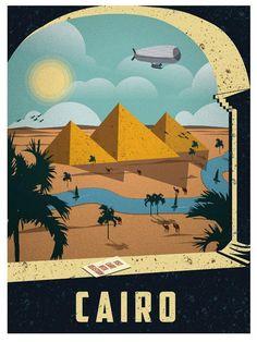 Cairo - http://strangeline.net/wp-content/uploads/2013/04/Vintage-Travel-Posters-by-Alex-Asfour-1.jpg