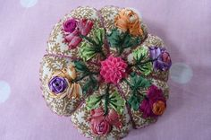 I ❤ pincushions . . . Bush roses embroidered Pin Cushion ~By Les Broderies de Sophie Blog (Embroideries Sophie ~ Cécile side Franconia)