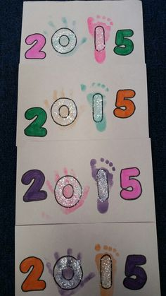 Infant Hand & Footprint New Year's Art New Year's Crafts, Holiday Crafts For Kids, Baby Crafts, January Art, January Crafts, December, Daycare Crafts, Classroom Crafts, Daycare Ideas
